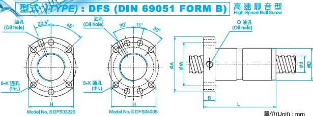 DFS8020滚珠丝杆图