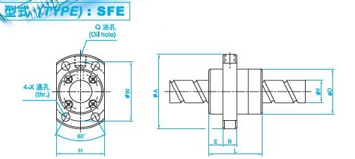 SFE4040滚珠丝杆图