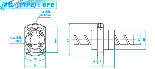 SFE1632滚珠丝杠图