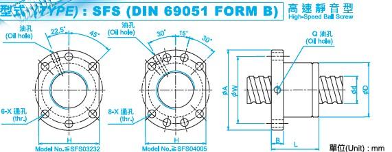 SFS2506滚珠丝杆图