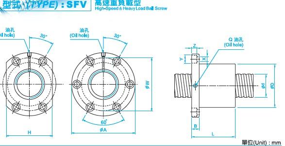 SFV2505滚珠丝杆图